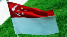A close-up image of a Singaporean flag fluttering in the wind