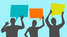 An illustration of three silhouetted people holding up speech bubbles
