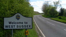 An image of a road sign in Crawley saying 'Welcome to West Sussex'