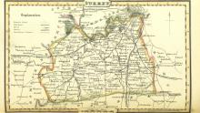 An image of a map of the county of Surrey dating from 1842