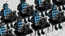 Illustration of robots sat at computers