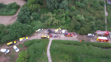 A drone-taken image of a rescue mission in the Norfolk countryside