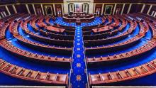 An image of the empty chamber of the US House of Representatives