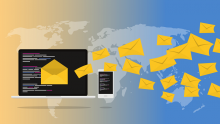 Illustration of lots of unopened message icons flying out of a computer and smartphone screen