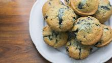 An image of a plate of blueberry muffins