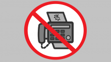 An illustration of a sign indicating that no fax machines are allowed