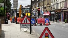 An image of roadworks on taking place on Green Lanes in north London