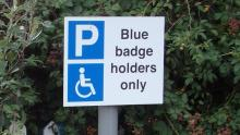 An image of a sign stating 'Blue badge holders only'