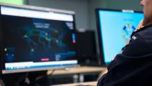 A participant in cyber defence exercise run by NATO's Allied Command Transformation analyses real-time threat information