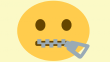 An illustration of the zip mouth emoji