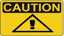 An illustration of a yellow and black 'Caution' sign with an exclamation mark inside a triangle