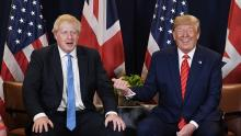 An image of Boris Johnson and Donald Trump at the UN General Assembly