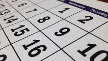 A close-up image of a calendar