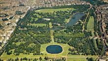 An aerial image of Hyde Park and Kensington Gardens