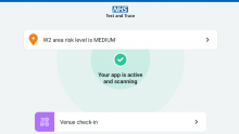 A screenshot of NHS Covid-19 app