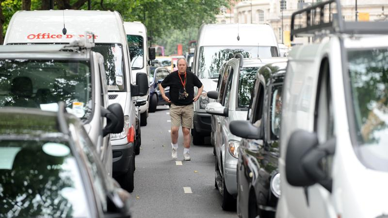 Traffic jam in London during Olympic protest