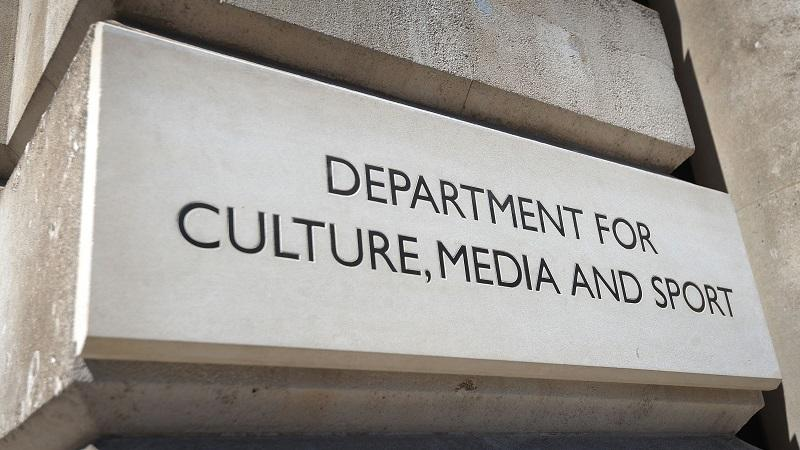 Department for Culture, Media and Sport (DCMS) sign on Whitehall