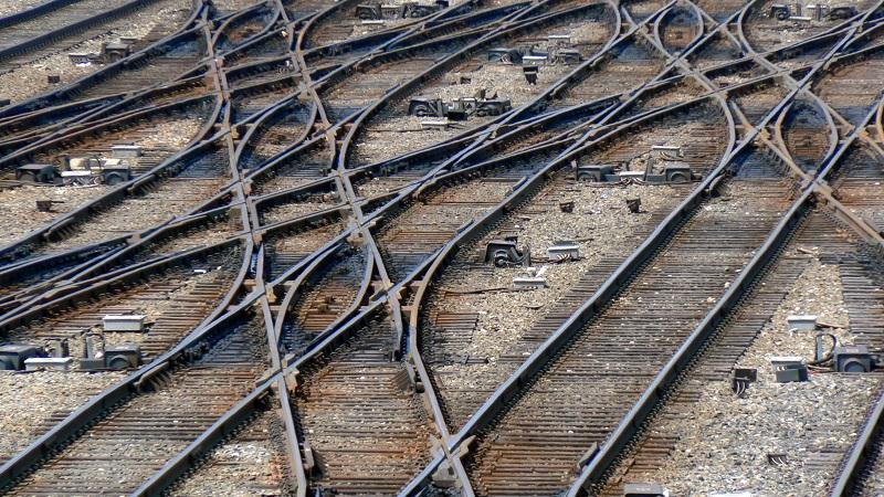 Rail tracks merge