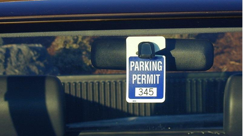 Parking permit in car