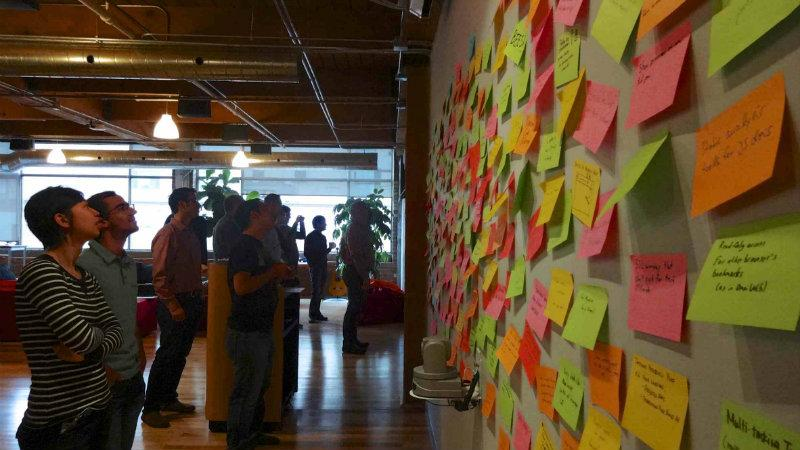 A wall of post its