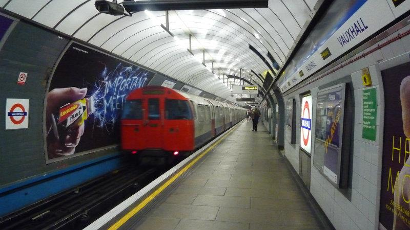 A tube train at vauxhall