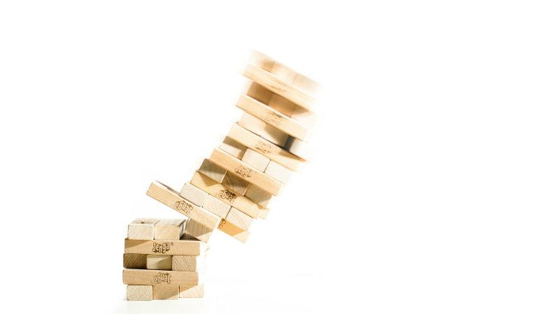 Jenga blocks falling