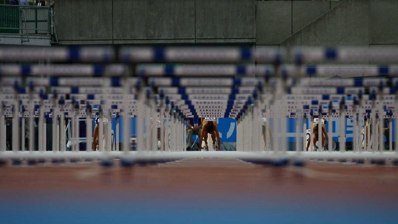 Hurdles, person, running, long