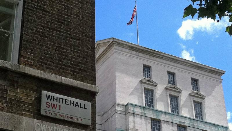 Whitehall sign and union flag