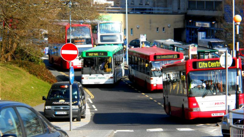 Buses in a city centre
