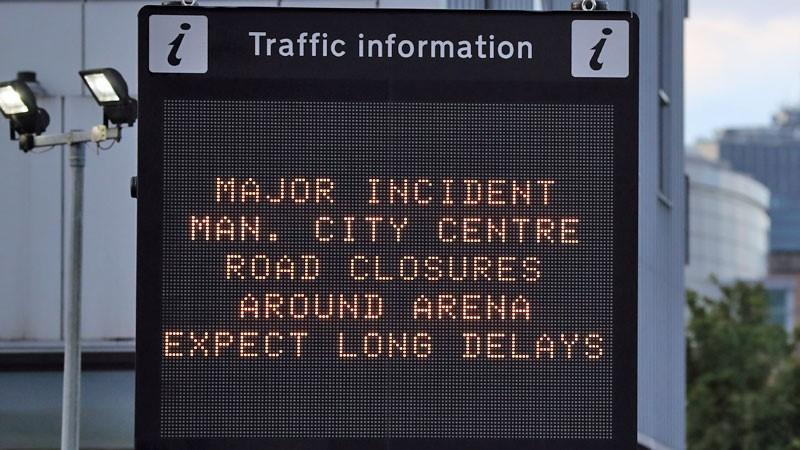 Traffic sign in Manchester following suicide bombing at Manchester Arena