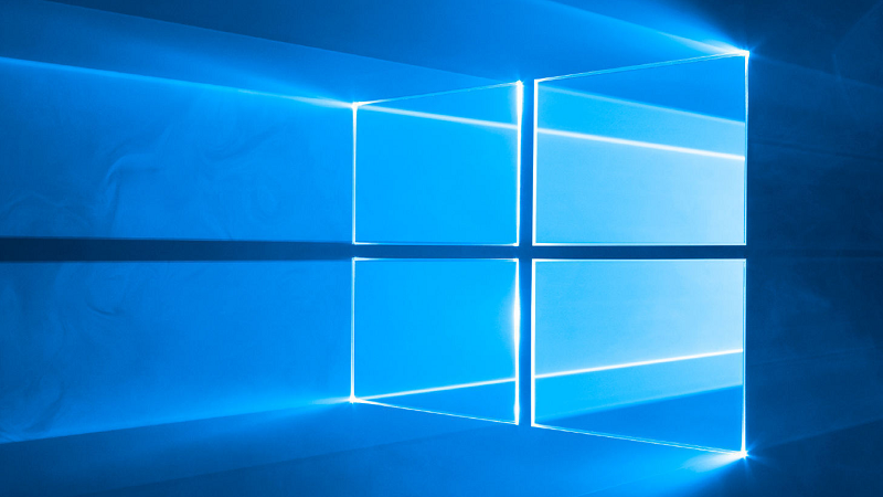 An image of the Windows 10 logo as displayed on a computer desktop