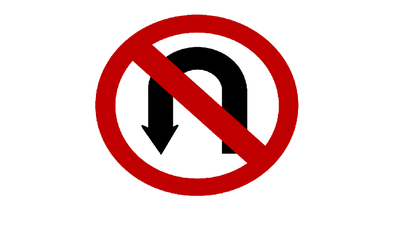 A picture of a no u-turn sign