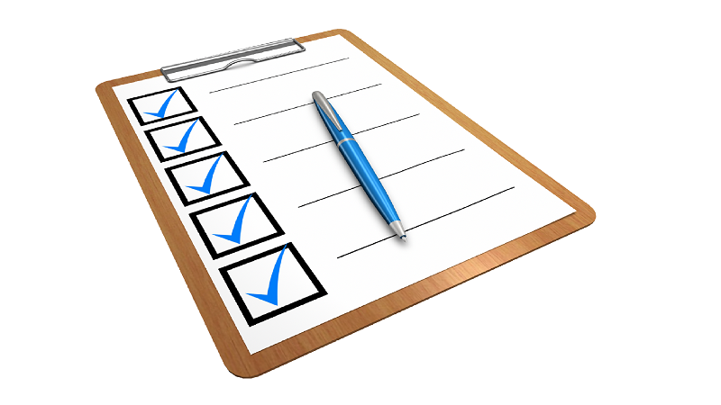 A picture of a five-point checklist on a clipboard