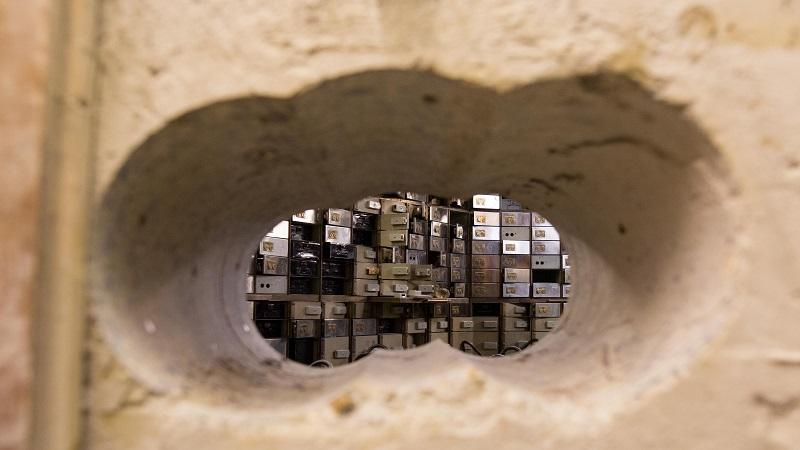 A picture of the holes drilled during the 2015 Hatton Garden heist