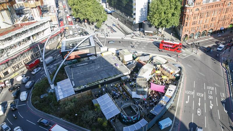 An aerial picture of London's Old Street roundabout