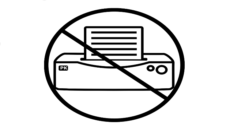 An image indicating 'no printing'