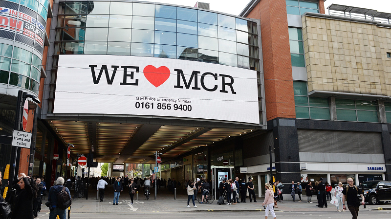 An image of the exterior of the Arndale Centre in Manchester City Centre