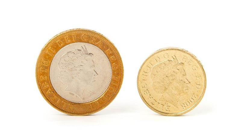 An image of a two pound and a one pound coin