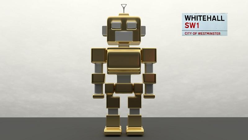 An image of a robot stood in front of a Whitehall sign