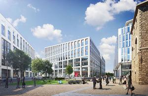 A photographic artist's impression of the Government Hub at Wellington Place in Leeds