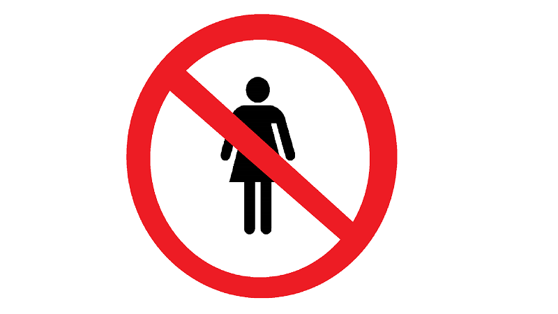 Image of a 'no women' sign