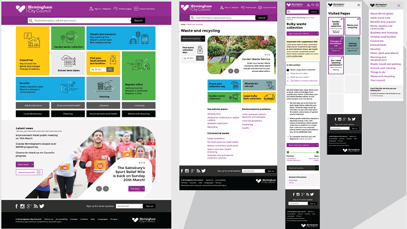 Image offering an overview of various pages of Birmingham City Council website