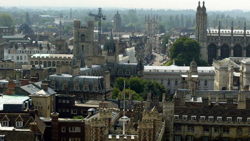 Aerial view of Cambridge city centre