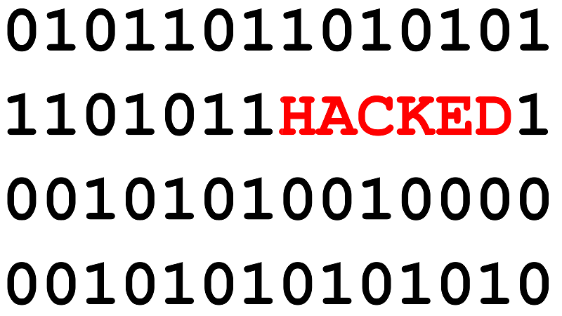 An image of the word Hacked amid binary code