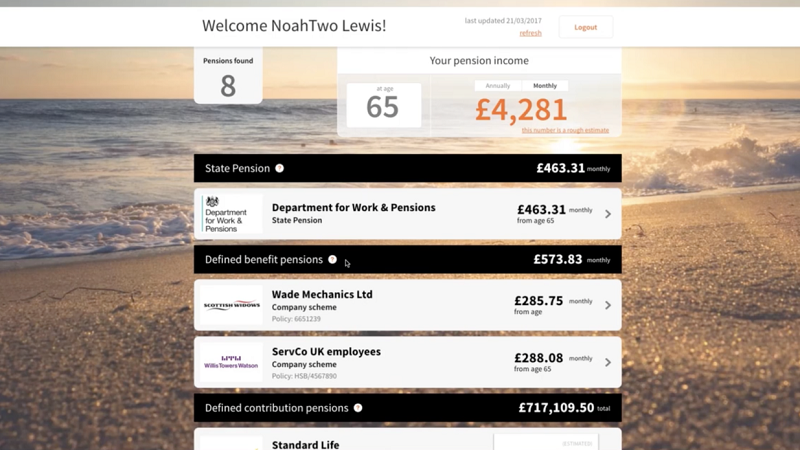 Image of the pensions dashboard prototype website