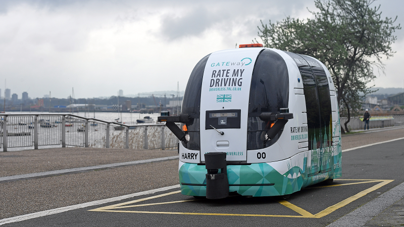 An image of a Gateway project driverless vechicle in Greenwich