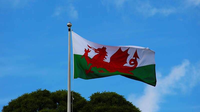 An image of the Welsh flag flying
