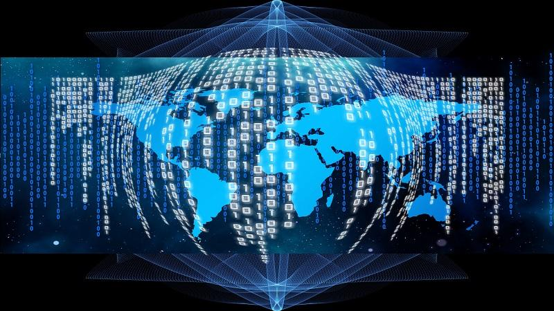An image of the globe with binary code superimposed
