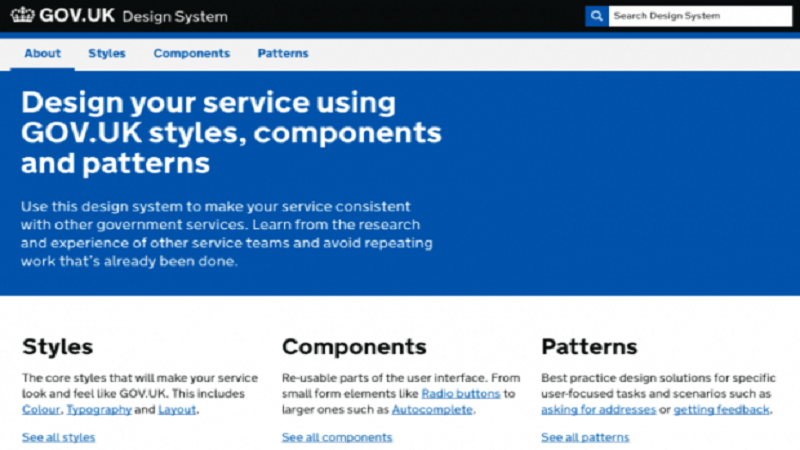 An image of the front end of the GOV.UK Design System prototype