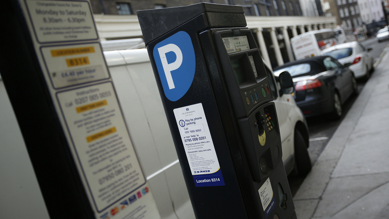 Image of a parking meter and bays